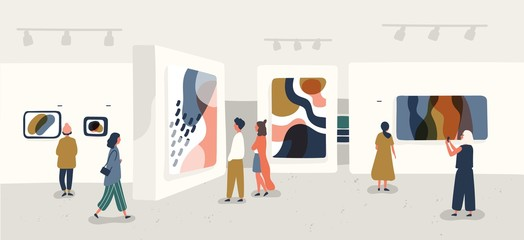 Exhibition visitors viewing modern abstract paintings at contemporary art gallery. People regarding creative artworks or exhibits in museum. Colorful vector illustration in flat cartoon style.