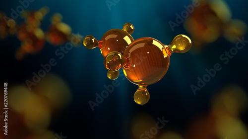Obraz 3d rendering illustration of glass molecule model. Molecule of oil. Concept of structure model motor oil or gas - fototapety do salonu