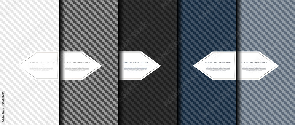 Fototapety, obrazy: Symmetric collection abstract carbon fiber pattern background card template vector