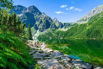 Fototapeta Góry Green water lake Morskie Oko, Tatra Mountains, Poland