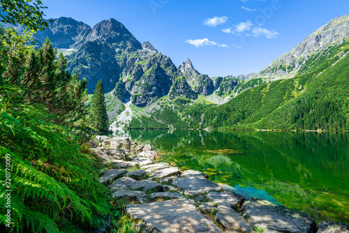 Foto auf Gartenposter Gebirge Green water lake Morskie Oko, Tatra Mountains, Poland