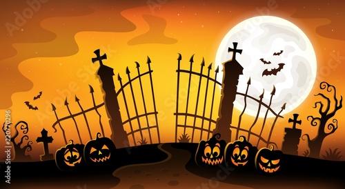 Cemetery gate silhouette theme 5