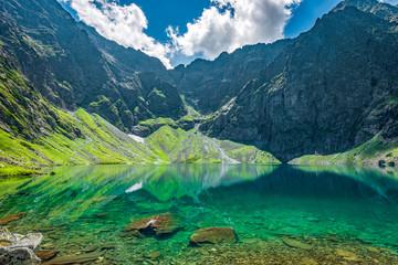 Fototapeta Popularne Black lake under Rysy peak, Tatra Mountains, Poland