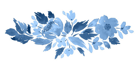 Loose watercolor floral arrangement  in blue. Hand painted composition with c...