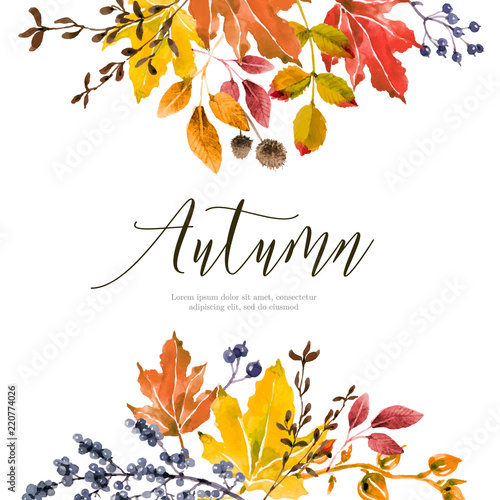 Fototapeta Warm autumn floral background obraz