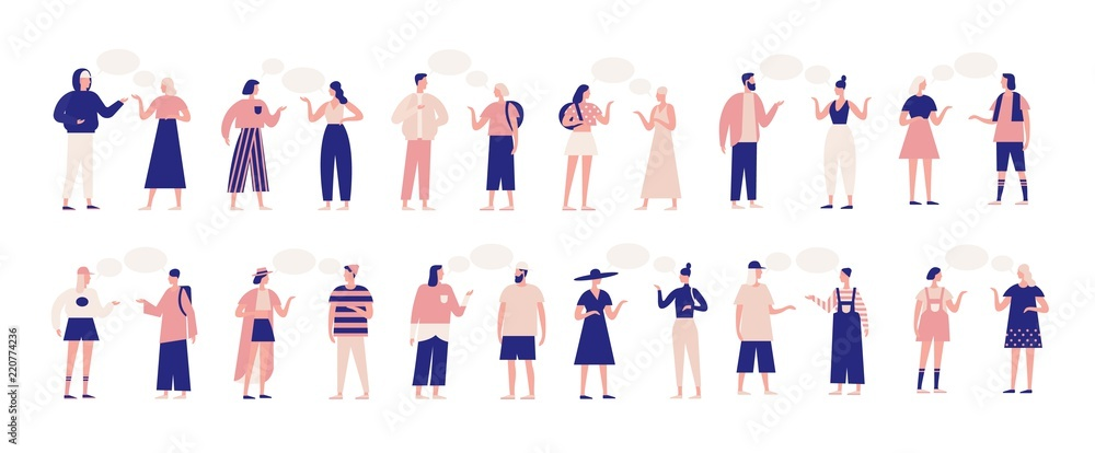 Fototapeta Bundle of people talking or speaking to each other. Collection of chatting men and women with speech bubbles isolated on white background. Colorful vector illustration in flat cartoon style.