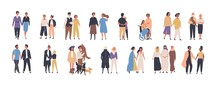 Collection Of Different Types Of Romantic Relationships And Marriage - Polygyny, Interracial, Lgbt And Elderly Couples Isolated On White Background. Love Diversity. Flat Cartoon Vector Illustration.
