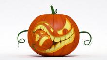 Halloween, Evil Jack-o-lantern Pumpkin Eating Small Pumpkin. 3d Illustration