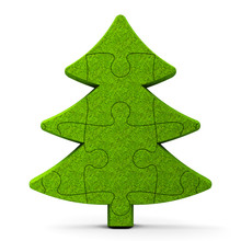 Green Puzzle Christmas Tree Sign