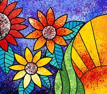 Colorful Flowers Canvas Digital Painting Artwork