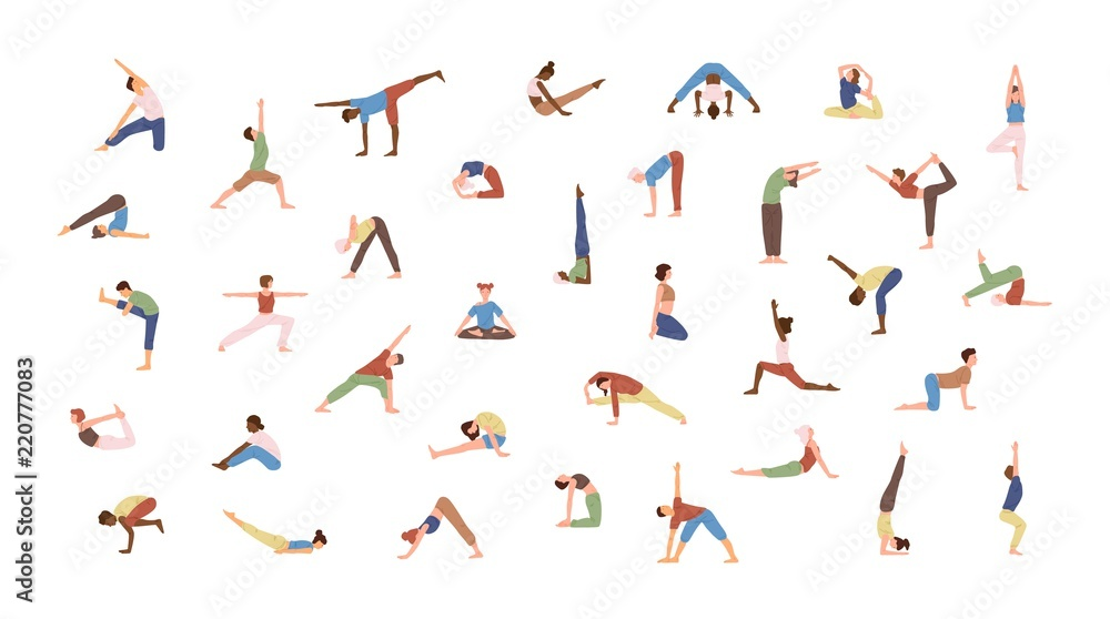 Fototapeta Crowd of tiny people performing yoga exercises. Men and women practicing Asana isolated on white background. Spiritual practice and physical activity. Flat cartoon colored vector illustration.