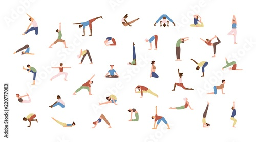 Crowd of tiny people performing yoga exercises Wallpaper Mural