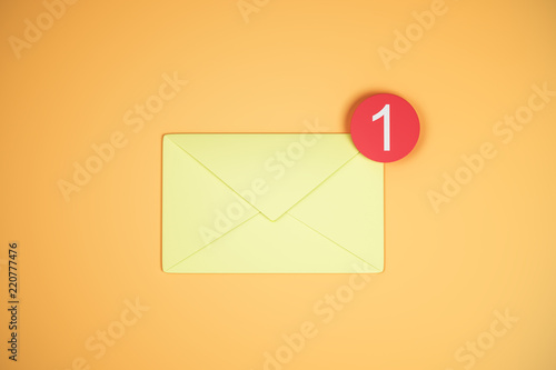 One yellow email icon