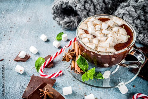 Spoed Foto op Canvas Chocolade Hot chocolate with mint and marshmallow