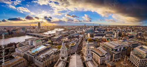 London, England - Aerial panoramic skyline view of London taken from top of St Wallpaper Mural