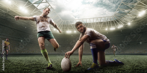 Canvastavla  Rugby player knocked the ball on professional rugby stadium
