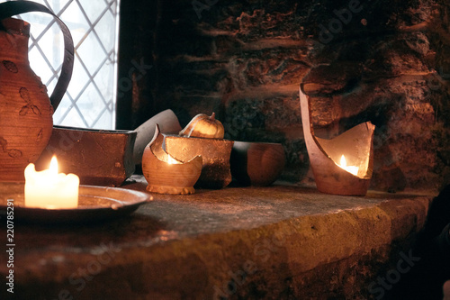 authentic medieval tavern. interior Wallpaper Mural