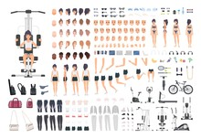 Sportswoman Or Fitness Girl DIY Kit. Set Of Woman's Body Parts, Postures, Sports Equipment, Exercise Machines Isolated On White Background. Front, Side And Back Views. Cartoon Vector Illustration.