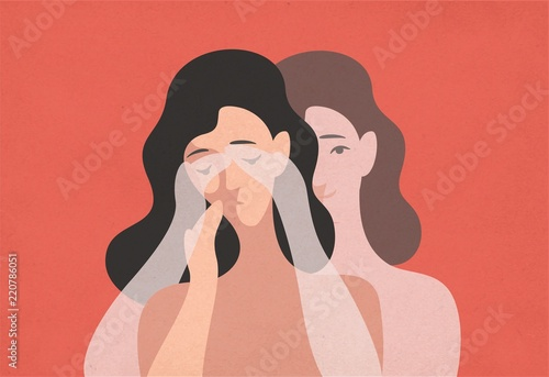 Carta da parati Sad young woman with lowered head and her ghostly twin standing behind and covering her eyes with hands