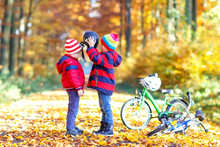 Two Little Kid Boys With Bicycles In Autumn Forest Putting Helmets