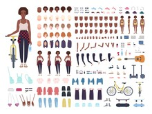 African American Teenage Girl Animation Kit Or Avatar. Bundle Of Teenager's Body Parts, Postures, Faces, Haircuts, Stylish Clothes, Gadgets Isolated On White Background. Cartoon Vector Illustration.