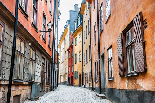 Beautiful street with colorful buildings of Old Town in Stockholm, Sweden Canvas Print