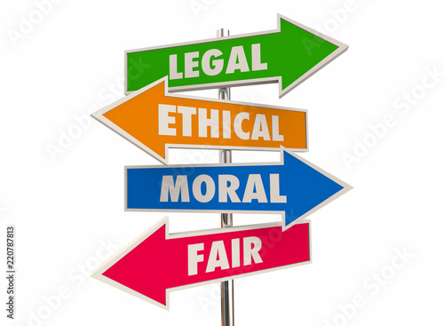 Fotografie, Obraz  Legal Ethical Moral Fair Right Justice Arrow Signs 3d Illustration