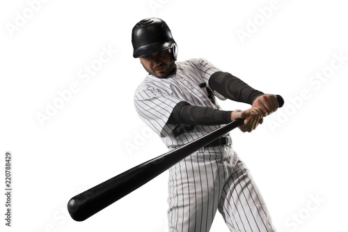 Isolated Baseball player bat the ball on white background Poster Mural XXL