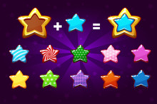 Golden And Colors Star For Level Up. GUI Elements. Icons For Game Design