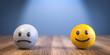 Leinwandbild Motiv 3D Illustration unglücklich und glücklich