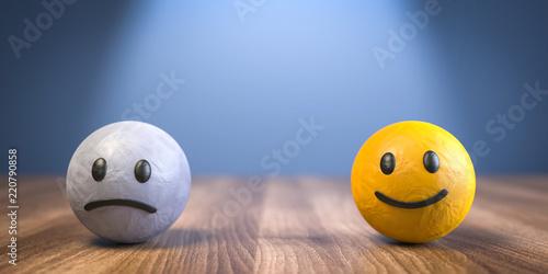 3D Illustration unglücklich und glücklich Tableau sur Toile
