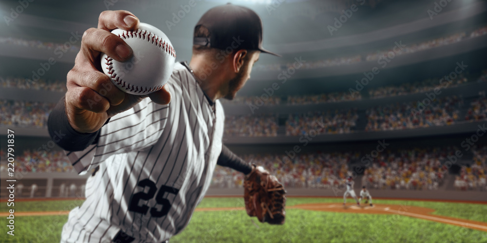 Fototapety, obrazy: Baseball player throws the ball on professional baseball stadium