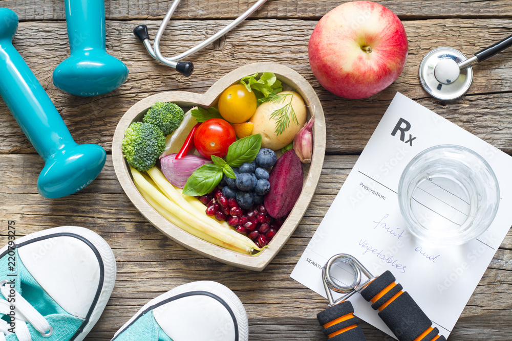 Fototapeta Healthy lifestyle concept with diet  fitness and medicine