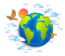 Cartoon Earth Clouds Birds Fly...