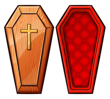 Vector Coffin On White Background
