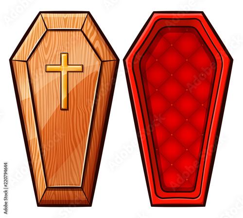 Fotografie, Obraz Vector coffin on white background