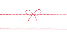 Red String With Bow,decoration Rope Isolated.