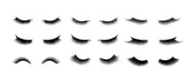Eyelash Extension Set. Beautiful Black Long Eyelashes. Closed Eye . False Beauty Cilia. Mascara Natural Effect. Professional Glamor Makeup.