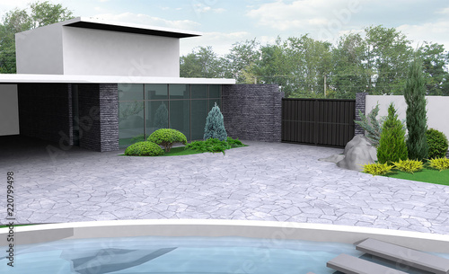 Fotografie, Obraz  Private land landscaping, 3D render integrated into the natural environment