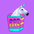 Leinwanddruck Bild -  Unicorn loves popcorn Contemporary art  collage. Funny Fast food minimal project