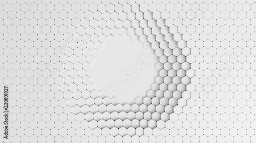 White background with honeycombs. 3d illustration, 3d rendering. #220801027