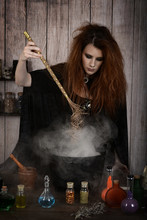 Witch Stirring Her Magic Potio...