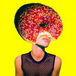 Leinwanddruck Bild - Contemporary art minimal collage.  Donut Girl.  Funny Fast food minimal project