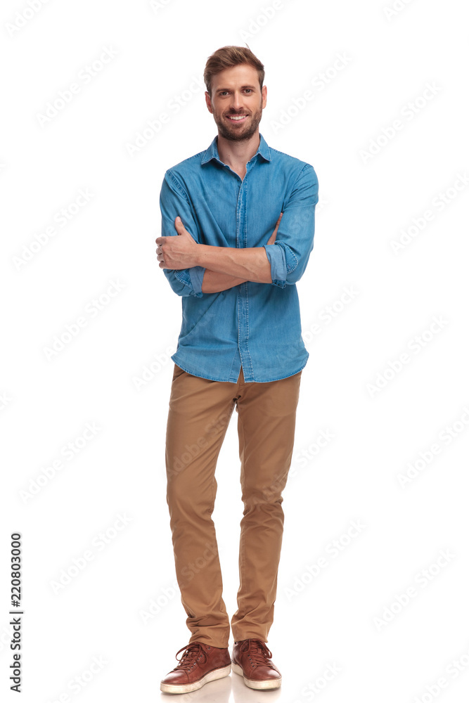Fototapeta confident smiling casual man with hands crossed