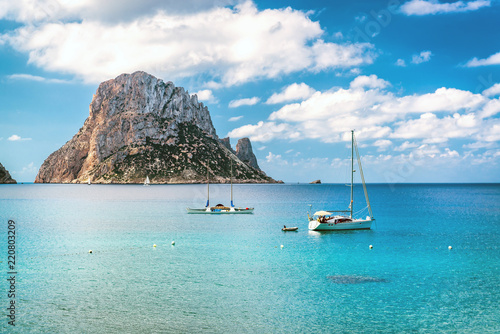 fototapeta na szkło Picturesque view of the mysterious island of Es Vedra. Ibiza, Spain