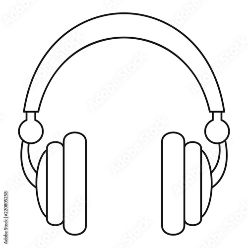 Wired headphones icon  Outline illustration of wired
