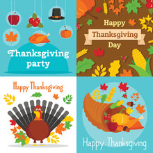 Thanksgiving Day Banner Set. Flat Illustration Of Thanksgiving Day Vector Banner Set For Web Design