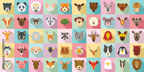 Animals icon set. Flat set of animals vector icons for web design
