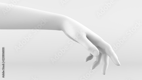 Fototapety, obrazy: White hand on a white background. 3d image, 3d rendering.