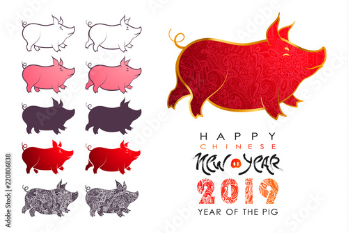 Chinese New Year 2019. Zodiac Pig. Happy New Year card, pattern, art ...